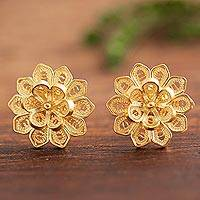 Gold plated sterling silver filigree button earrings, 'Fantasy Stars'