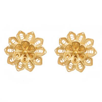 Gold plated sterling silver filigree button earrings, 'Fantasy Stars' - Floral Gold Plated Sterling Silver Filigree Button Earrings
