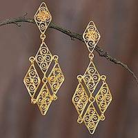 Gold plated sterling silver filigree dangle earrings, 'Colonial Geometry' - Geometric Gold Plated Sterling Silver Filigree Earrings