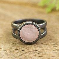 Rose quartz signet ring, 'Soft Circle' - Oxidized Rose Quartz Signet Ring from Peru