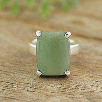 Aventurine cocktail ring, 'Serene Meadow' - Rectangular Aventurine Cocktail Ring from Peru