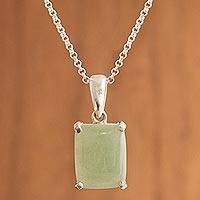 Aventurine pendant necklace, 'Serene Meadow' - Faceted Aventurine and Sterling Silver Pendant Necklace