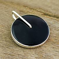Obsidian pendant, 'Midnight Marvel' - Obsidian Circle and Sterling Silver Pendant from Peru