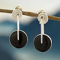 Obsidian dangle earrings, 'Mesmerizing Midnight' - Obsidian Circle and Sterling Silver Spiral Dangle Earrings
