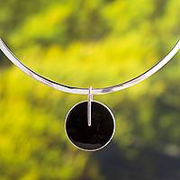 Obsidian pendant necklace, 'Midnight Marvel in Motion' - Obsidian Circle Pendant and Sterling Silver Choker Necklace