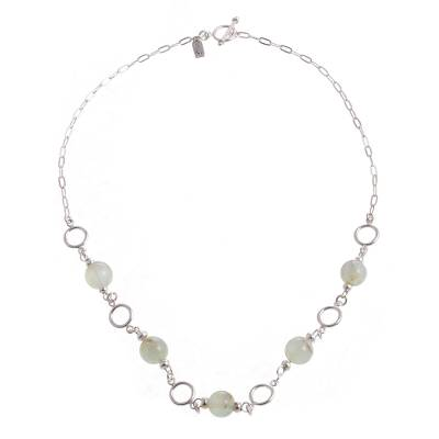 Opal link necklace, 'Effervescent Beauty' - Round Opal Bead and Sterling Silver Circles Link Necklace