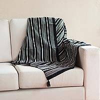 Alpaca blend throw, 'Night Leopard' - Black and White Striped Alpaca Blend Throw from Peru