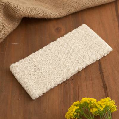 100% baby alpaca ear warmer, 'Wavelength in Alabaster' - Off-White 100% Baby Alpaca Honeycomb Pattern Knit Headband