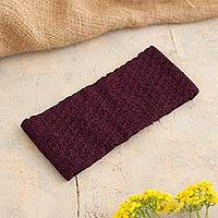 100% baby alpaca ear warmer, 'Wavelength in Boysenberry' - Boysenberry 100% Baby Alpaca Honeycomb Pattern Knit Headband