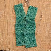 100% baby alpaca fingerless mitts, 'Luscious Twist in Emerald' - Green 100% Baby Alpaca Cable Knit Fingerless Mitts