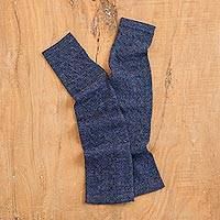 100% baby alpaca fingerless mitts, 'Luscious Twist in Navy' - Navy 100% Baby Alpaca Cable Knit Fingerless Mitts from Peru