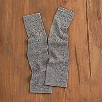 100% baby alpaca fingerless mitts, 'Luscious Twist in Grey' - Grey 100% Baby Alpaca Cable Knit Fingerless Mitts from Peru