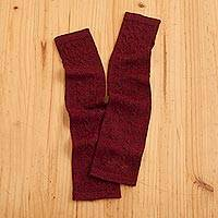 100% baby alpaca fingerless mitts, 'Luscious Twist in Burgundy' - Burgundy 100% Baby Alpaca Cable Knit Fingerless Mitts