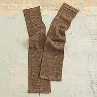 100% baby alpaca fingerless mitts, 'Luscious Twist in Chestnut' - Chestnut Brown 100% Baby Alpaca Cable Knit Fingerless Mitts