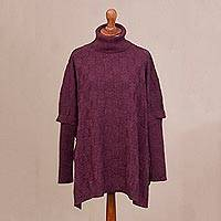 Alpaca blend poncho, 'Rugged Charm' - Mulberry Alpaca Blend Knit Turtleneck Long Sleeve Poncho