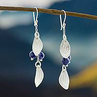 Sodalite dangle earrings, 'Leafy Brilliance' - Modern Sodalite Dangle Earrings from Peru
