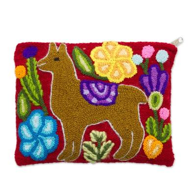 Llama-Themed Embroidered Wool Cosmetic Bag in Honey