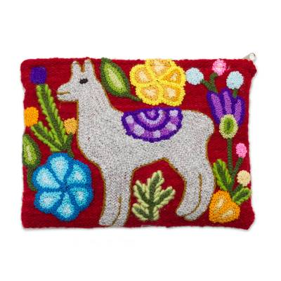 Llama-Themed Embroidered Wool Clutch in Pearl Grey