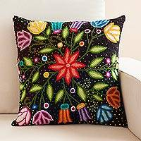Wool cushion cover, 'Dark Garden' - Floral Embroidered Wool Cushion Cover from Peru