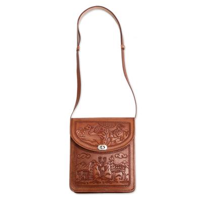 Hand-Tooled Embossed Andean Scene Brown Leather Shoulder Bag