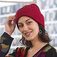 100% alpaca knit hat, 'Comfy in Red' - Crimson Red 100% Alpaca Soft Cable Knit Hat from Peru