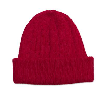 Crimson Red 100% Alpaca Soft Cable Knit Hat from Peru