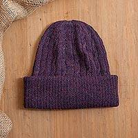 100% alpaca knit hat, 'Comfy in Purple' - Aubergine Purple 100% Alpaca Soft Cable Knit Hat from Peru