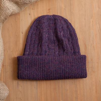100% alpaca knit hat, Comfy in Purple