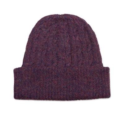 Aubergine Purple 100% Alpaca Soft Cable Knit Hat from Peru