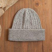 100% alpaca knit hat, 'Comfy in Grey' - Soft Smoky Grey 100% Alpaca Cable Knit Hat from Peru