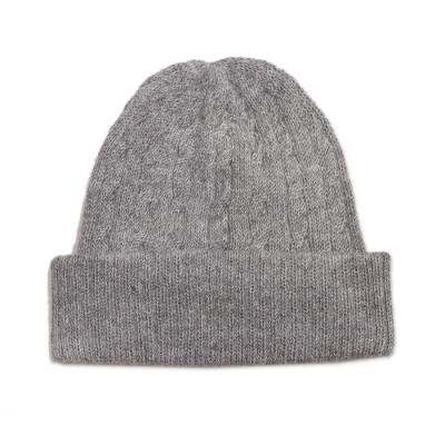 Soft Smoky Grey 100% Alpaca Cable Knit Hat from Peru