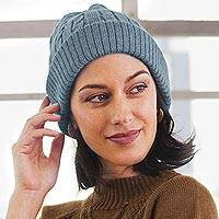 100% alpaca knit hat, 'Comfy in Blue' - Robin's Egg Blue 100% Alpaca Soft Cable Knit Hat from Peru