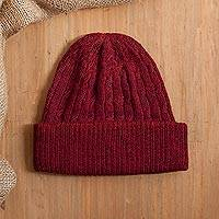 100% alpaca knit hat, 'Comfy in Burgundy' - Cranberry Red 100% Alpaca Soft Cable Knit Hat from Peru