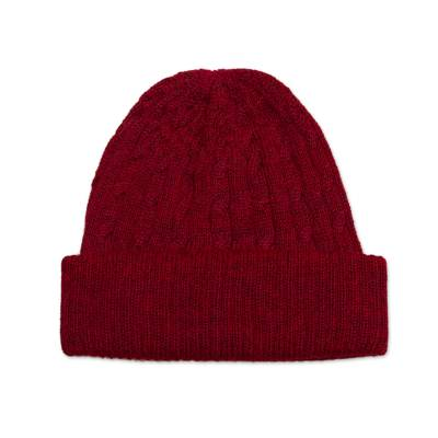 Cranberry Red 100% Alpaca Soft Cable Knit Hat from Peru