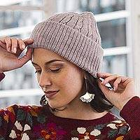 100% alpaca knit hat, 'Comfy in Pink' - Dusty Rose Pink 100% Alpaca Soft Cable Knit Hat from Peru