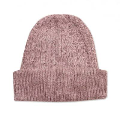 Dusty Rose Pink 100% Alpaca Soft Cable Knit Hat from Peru
