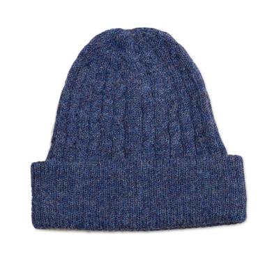 Indigo Blue 100% Alpaca Soft Cable Knit Hat from Peru