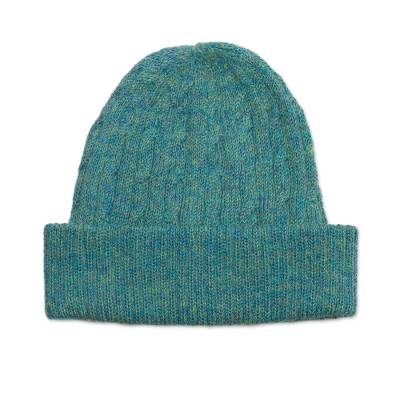 Teal 100% Alpaca Cable Pattern Soft Knit Hat From Peru