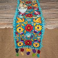Alpaca blend table runner, 'Floral Fest' - Floral and Bird Motif Alpaca Blend Table Runner from Peru