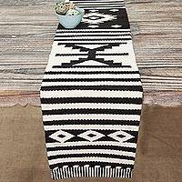 Wool table runner, 'Geometric Illusion'