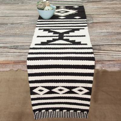 Wool table runner, 'Geometric Illusion' - Black and Alabaster Geometric Striped Table Runner from Peru