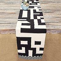 Wool table runner, 'Abstract Forms' - Abstract Black and Alabaster Wool Table Runner from Peru