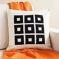 Wool cushion cover, 'Chic Windows' - Handwoven Square Pattern Wool Cushion Cover from Peru