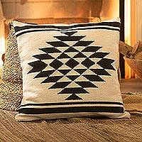 Wool cushion cover, 'Symmetric Diamond' - Diamond Pattern Wool Cushion Cover from Peru