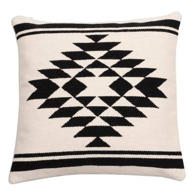 Wool cushion cover, 'Symmetric Diamond' - Diamond Pattern Wool Cushion Cover from Peru