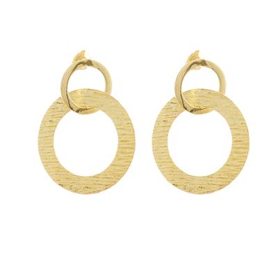 Gold plated sterling silver dangle earrings, 'Sun Circles' - 18k Gold Plated Sterling Silver Circles Dangle Earrings