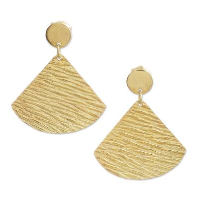 Gold plated sterling silver dangle earrings, 'Sun Wave' - 18k Gold Plated Sterling Silver Wave Dangle Earrings