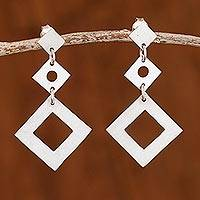 Sterling silver dangle earrings, 'Geometric Cascade' - Sterling Silver Diamond Shape Trio Dangle Earrings