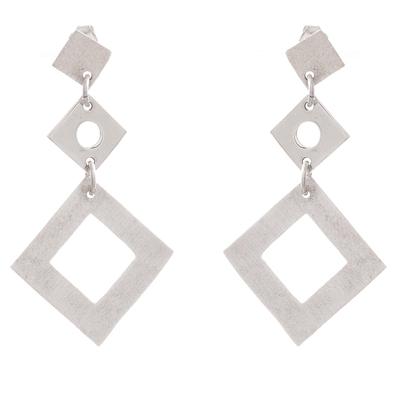 Sterling Silver Diamond Shape Trio Dangle Earrings