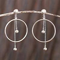 Sterling silver dangle earrings, 'Pendulum Hoop'